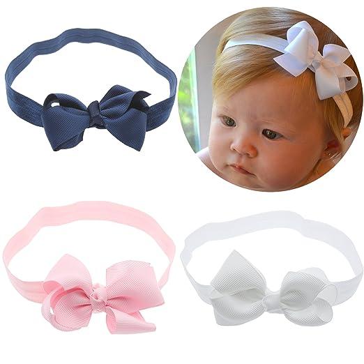 Amazon Com Lebo Baby Girl Headbands With Bows Baby Hair Bows 3pcs