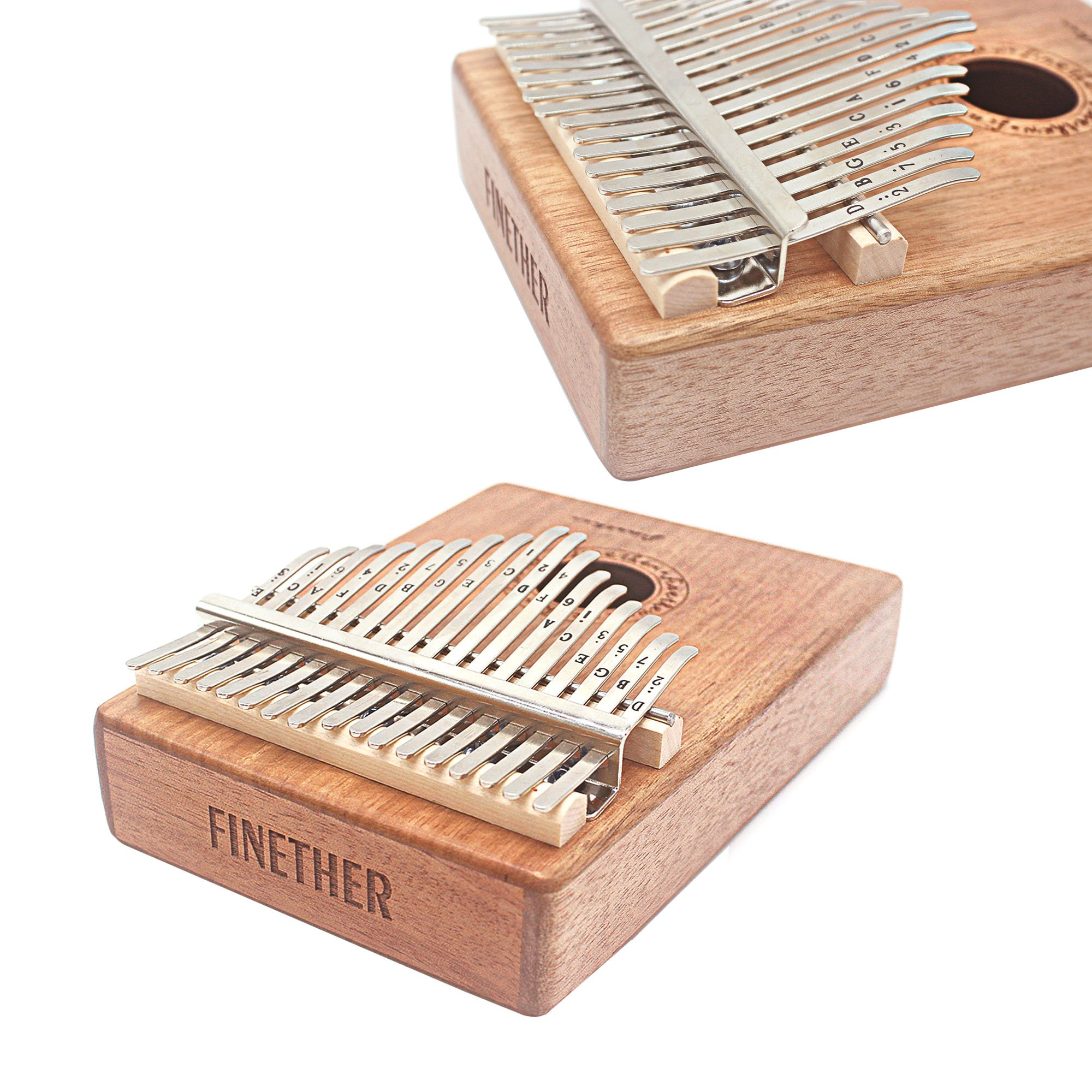 17 Keys Mahogany Kalimba Thumb Piano Wood Mbira Sanza Finger Percussion Pocket Keyboard w/Calibrating Tune Hammer for Beginners and Children (Mahogany) by AHongem (Image #6)