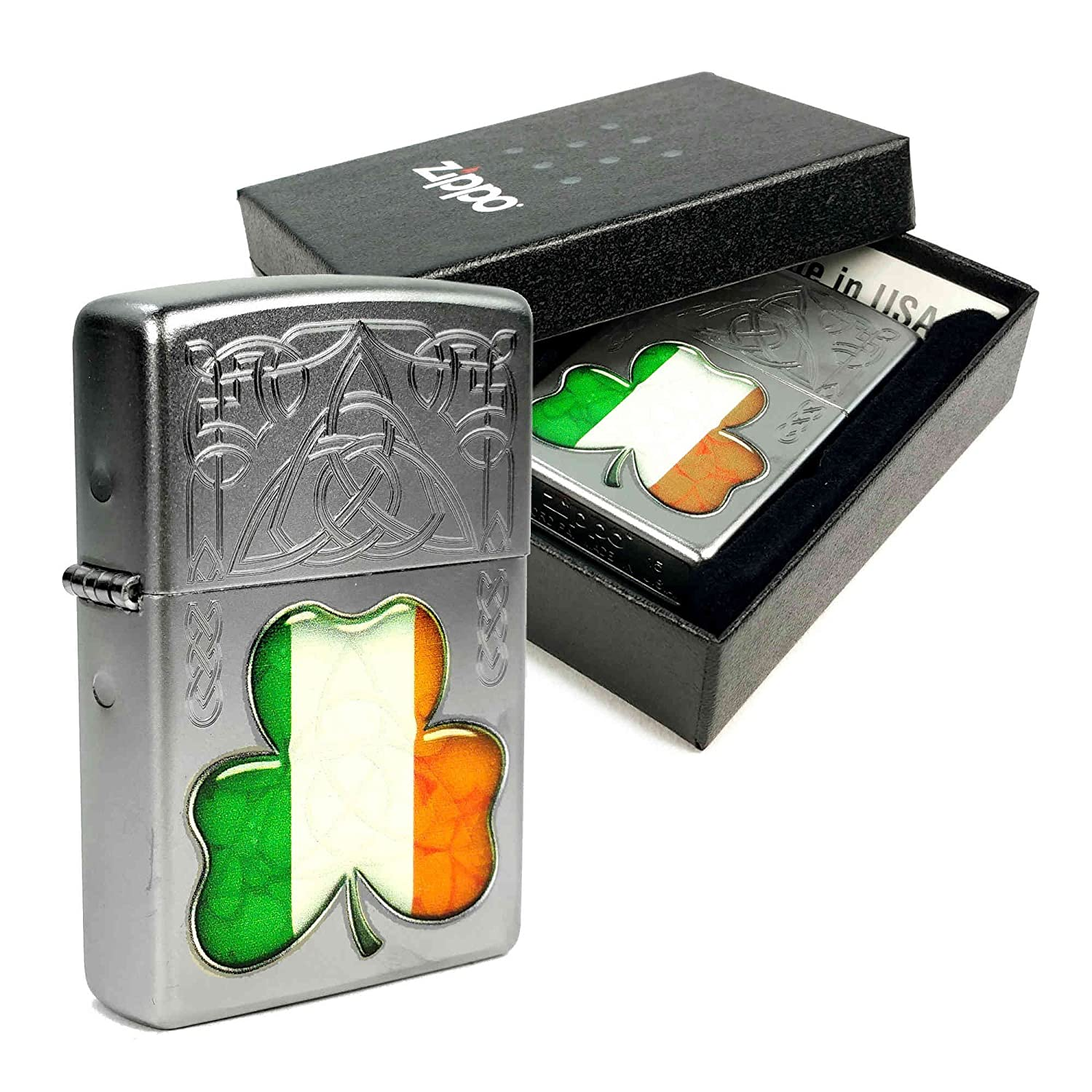 Zippo Lighter Satin Chrome 'Ireland Flag Shamrock' design