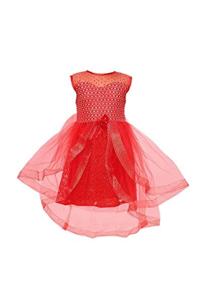 67d5c1e22 YAYAVAR Girls Net Made Red Colored Party Wear Designer Frock for Girls -  Set of 01
