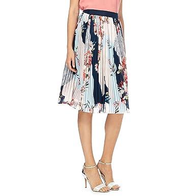 John Rocha Womens Multicoloured Pleated Floral Print Knee Length Skirt 24