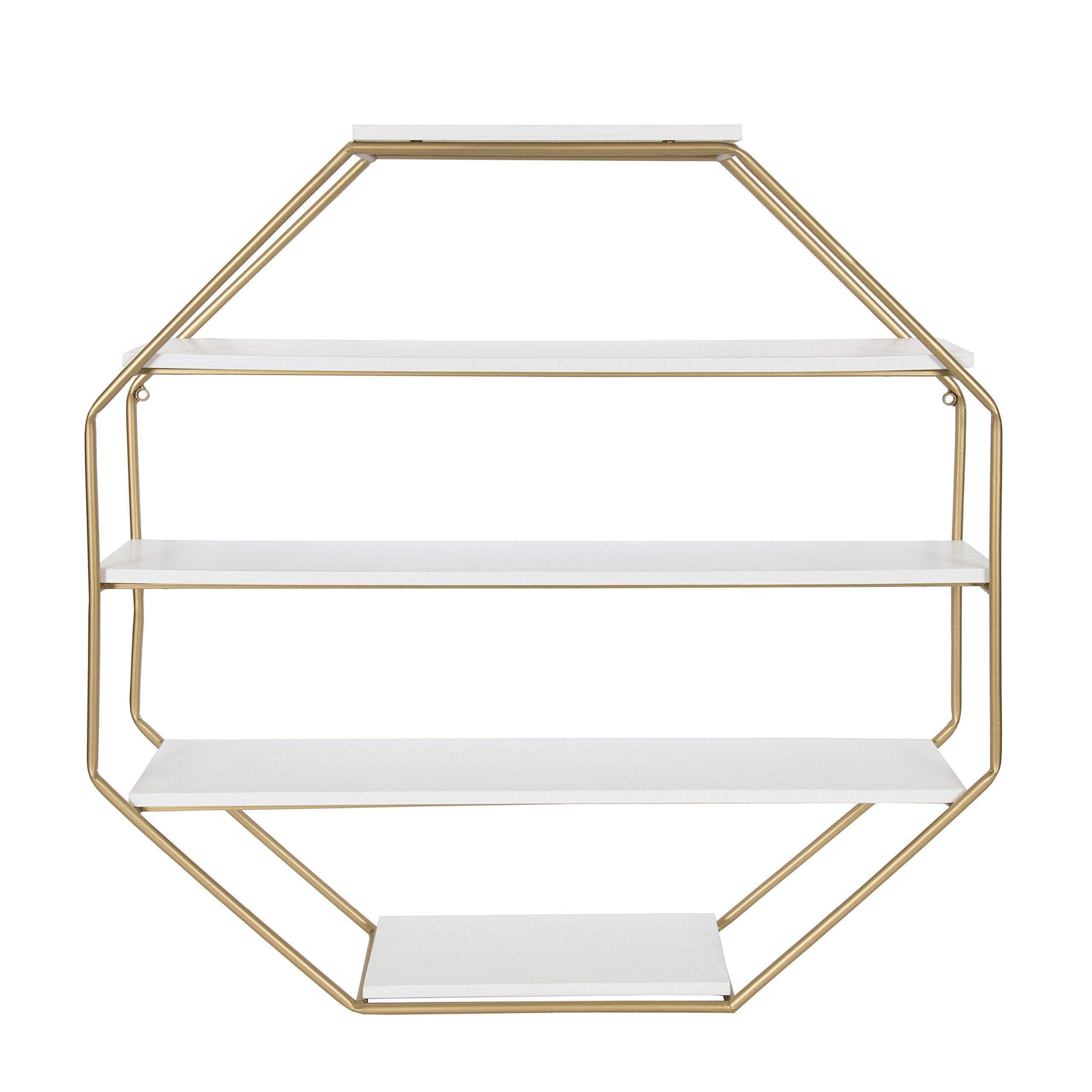 Kate and Laurel Lintz Octagon Floating Wall Shelves with Metal Frame, White/Gold