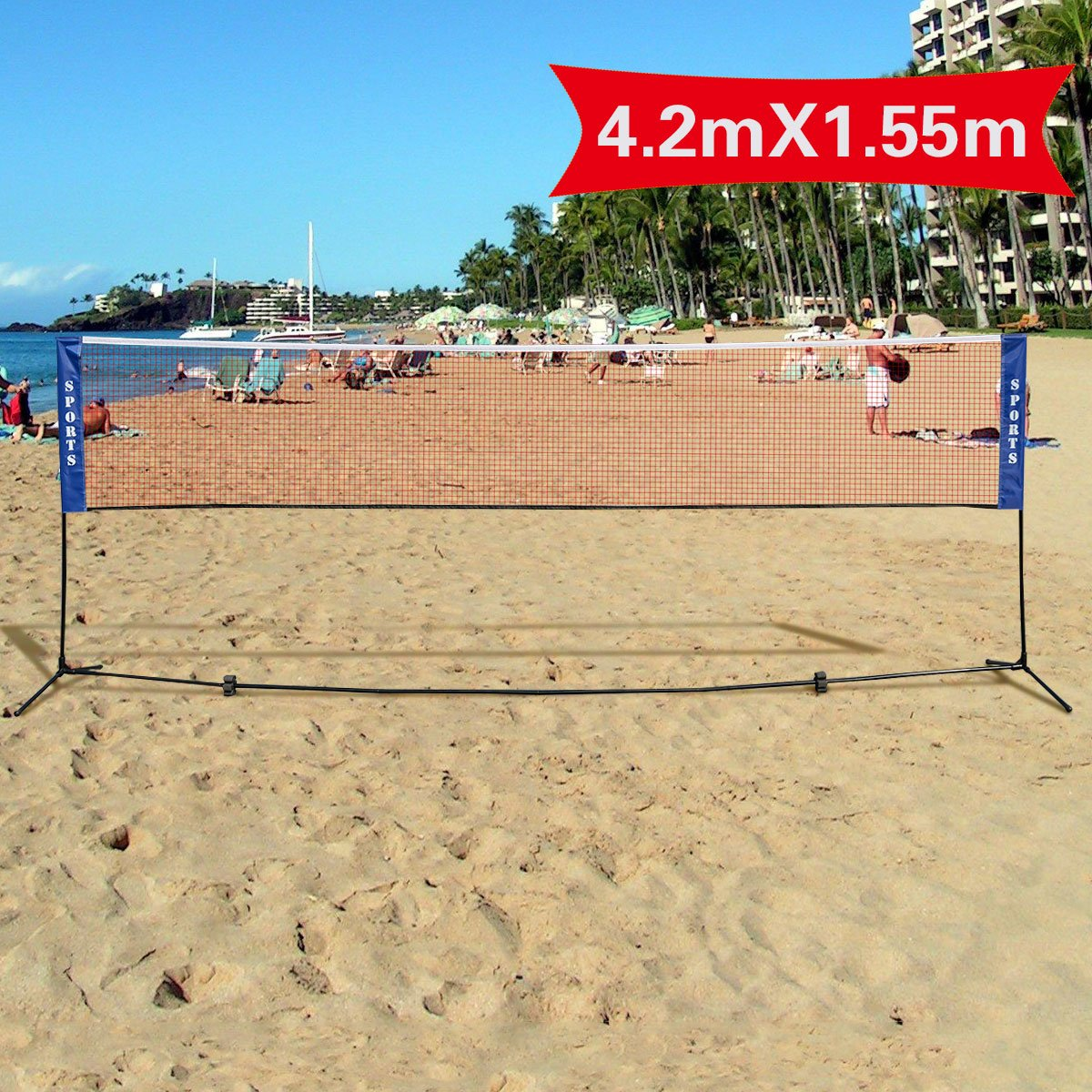 Costway 3m or 4m Adjustable Foldable Badminton Tennis Volleyball Net W/ Free Stand International Standard