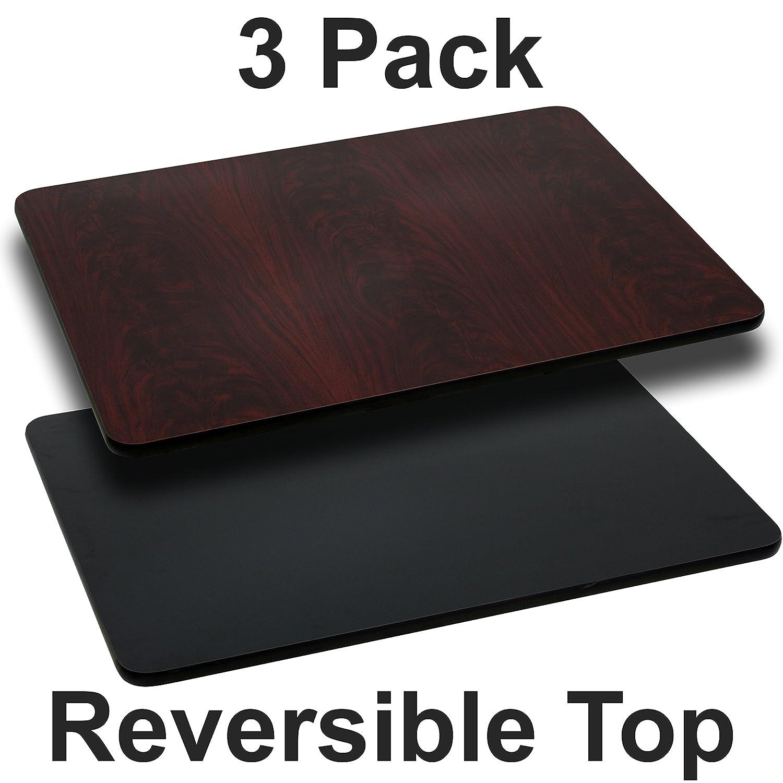 Flash Furniture 3 Pk. 24'' x 30'' Rectangular Table Top with Black or Mahogany Reversible Laminate Top