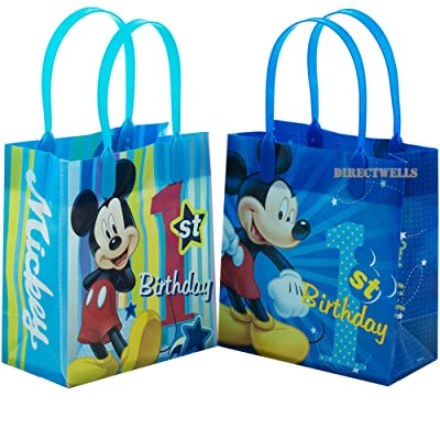 """Disney Mickey Mouse 1st Birthday Authentic Licensed 12 Reusable Small Goodie Bags 6"""": Toys & Games"""