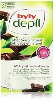 Byly - Depíl - Bandas depilatorias corporales con chocolate - 12 unidades