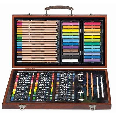 111 pc Drawing, Sketching & Doodling Kit in Wood Case: Toys & Games