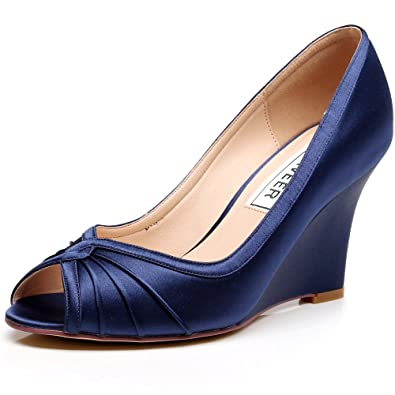 56afdbf33f4e LUXVEER Satin Wedding Shoes Bridal Shoes Women Shoes Dark Blue Wedding  Wedges Peep Toe