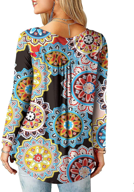 Amoretu Tunika Damen Blumen T-Shirt V Ausschnitt Kurzarm Knopfleiste Bluse Oberteil