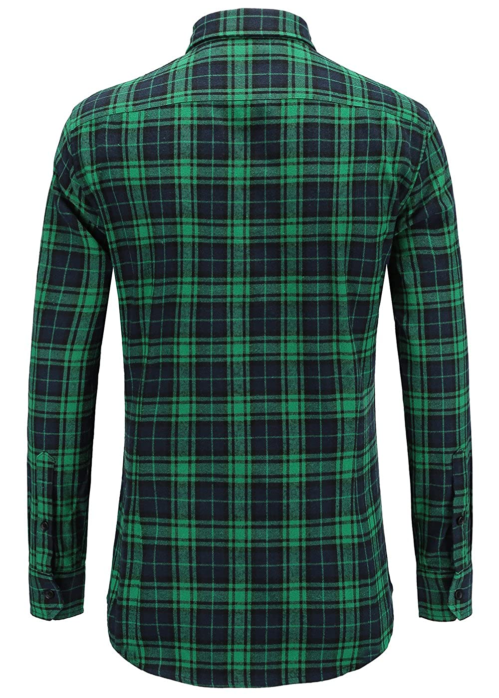 Emiqude Mens 100/% Cotton Slim Fit Long Sleeve Button Down Flannel Cross Plaid Dress Shirt