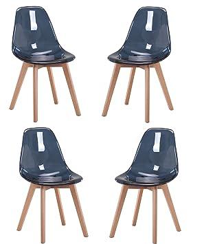 4b39f69cd176fc Meubletmoi Pack 4 chaises Bleu foncé Style scandinave - Assise Transparente  en Polycarbonate Haute qualité -