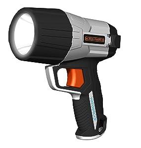 BLACK+DECKER WPAK5B 500 Lumen Waterproof 5W LED Spotlight Flashlight, Alkaline Battery Powered