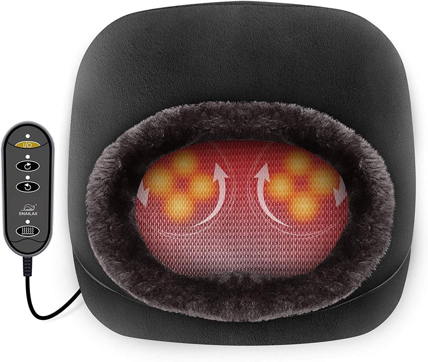 Snailax 2 en 1 Masaje de pies Shiatsu Calefacción- Masajeador de pies con almohadilla de calor y masaje de espalda, calentador de pies y alivio del dolor de pies SL522S-ES