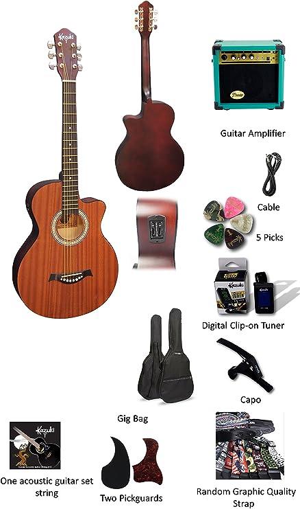 Kazuki eléctrico – Set de guitarra acústica para principiantes ...