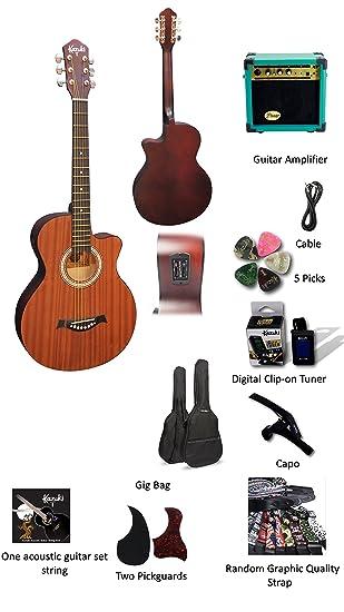 Kazuki eléctrico – Set de guitarra acústica para principiantes – acústica guitarra Starter Kit – 38