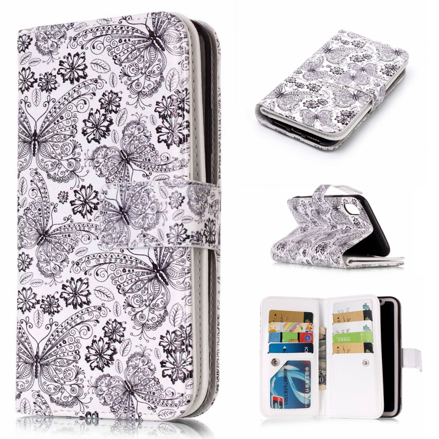 iPhone XR Flip Case Leather Cover Mobile Phone case Extra-Durable Business Card Holders Kickstand