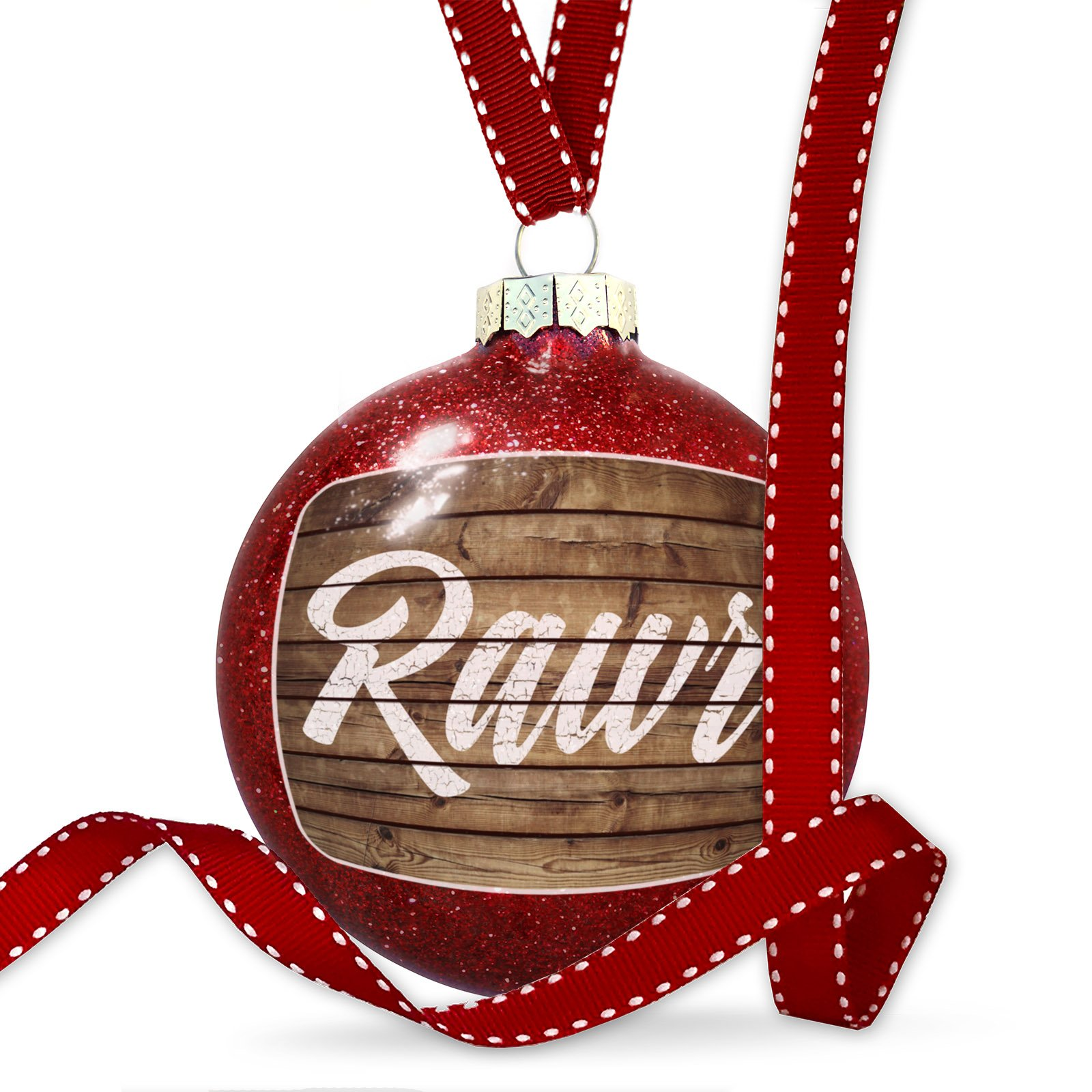 Christmas Decoration Painted Wood Rawr Ornament