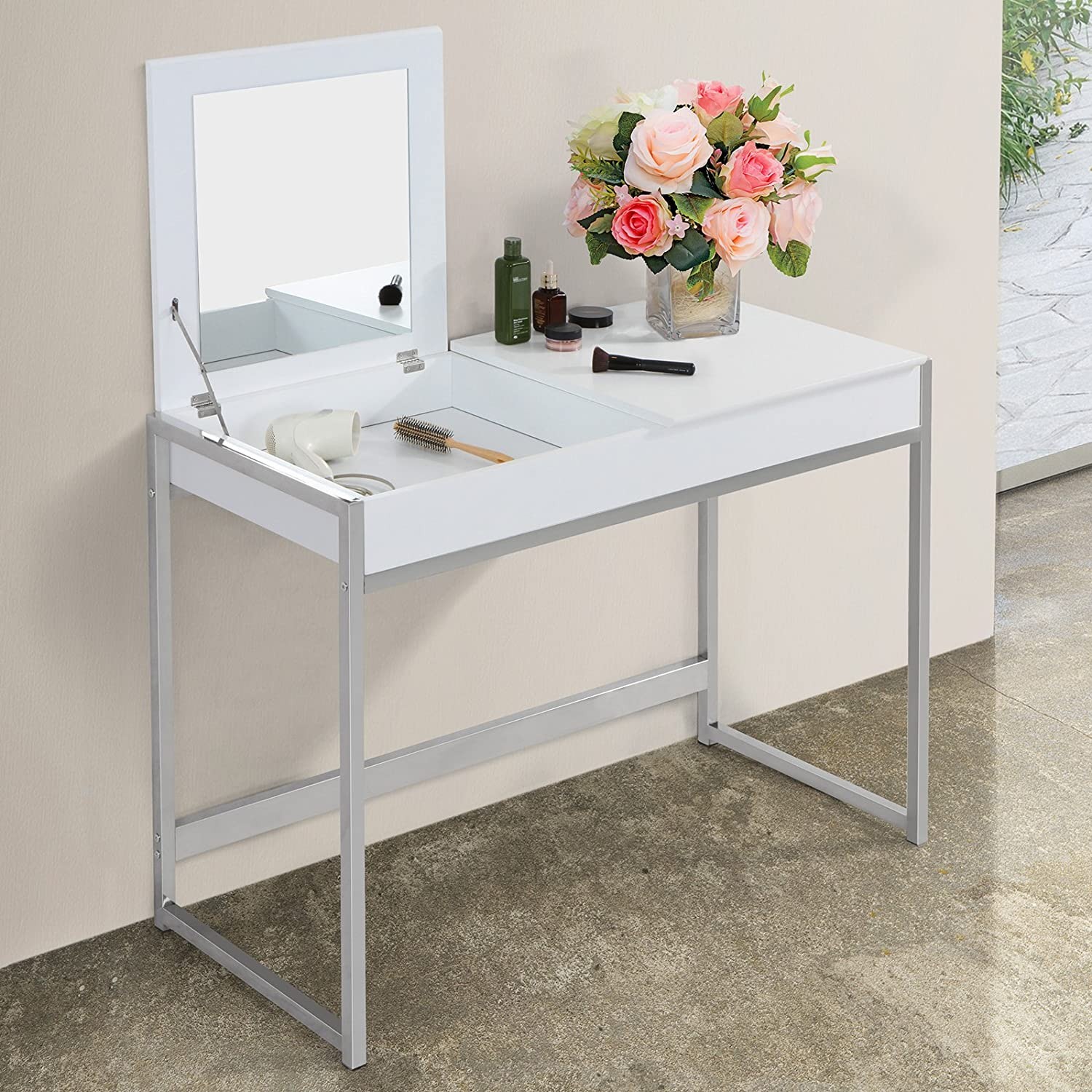 commode maquillage cool homcom coiffeuse de maquillage avec miroir et tiroirs tabouret bois. Black Bedroom Furniture Sets. Home Design Ideas
