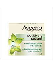 Aveeno Night Cream, Positively Radiant Intensive Brightening Face Moisturizer, 48 mL