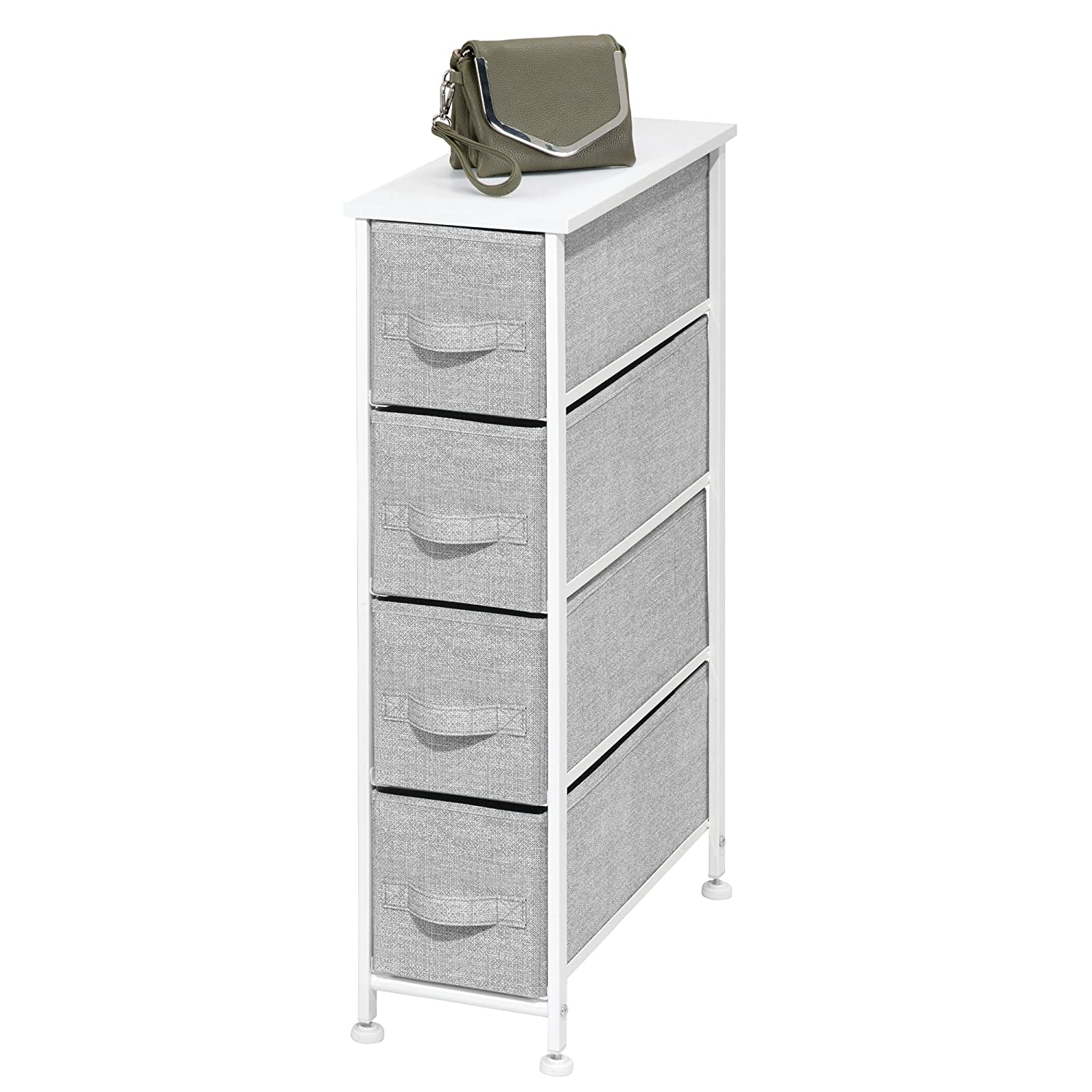 mDesign Narrow Vertical Dresser Storage Tower - Sturdy Metal Frame, Wood Top, Easy Pull Fabric Bins - Organizer Unit for Bedroom, Hallway, Entryway, Closet - Textured Print, 4 Drawers - Charcoal Gray MetroDecor 00130MDCO