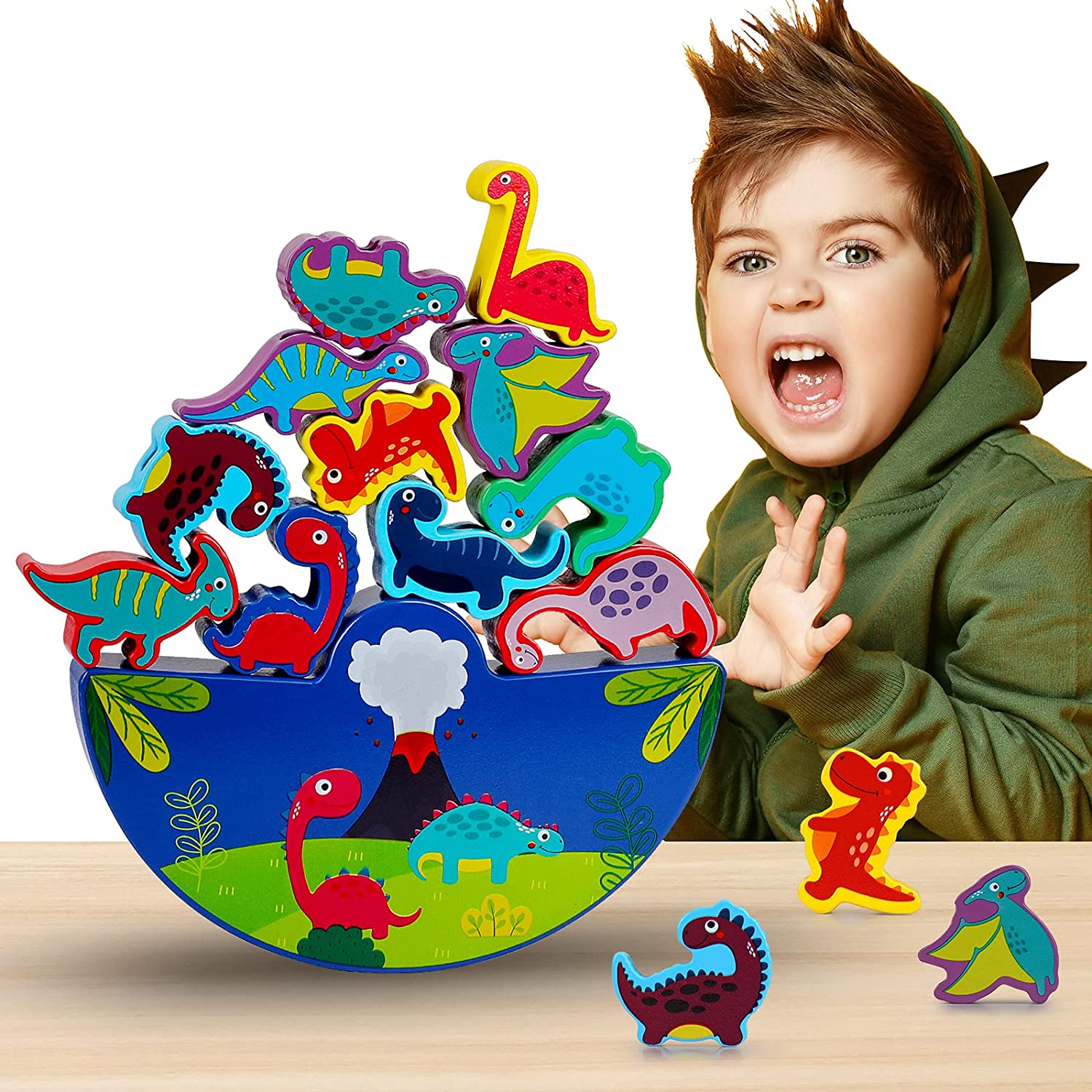 Boys Toys Age 3-8, Dinosaur Stacking Toy for Kids Wooden Puzzle for Boys Girls Kids Cool Toys for 3-8 Year Old Girls Gifts for 3-8 Year Old Boys Party Birthday Gifts Toys for Girls Boys Kids Toddlers
