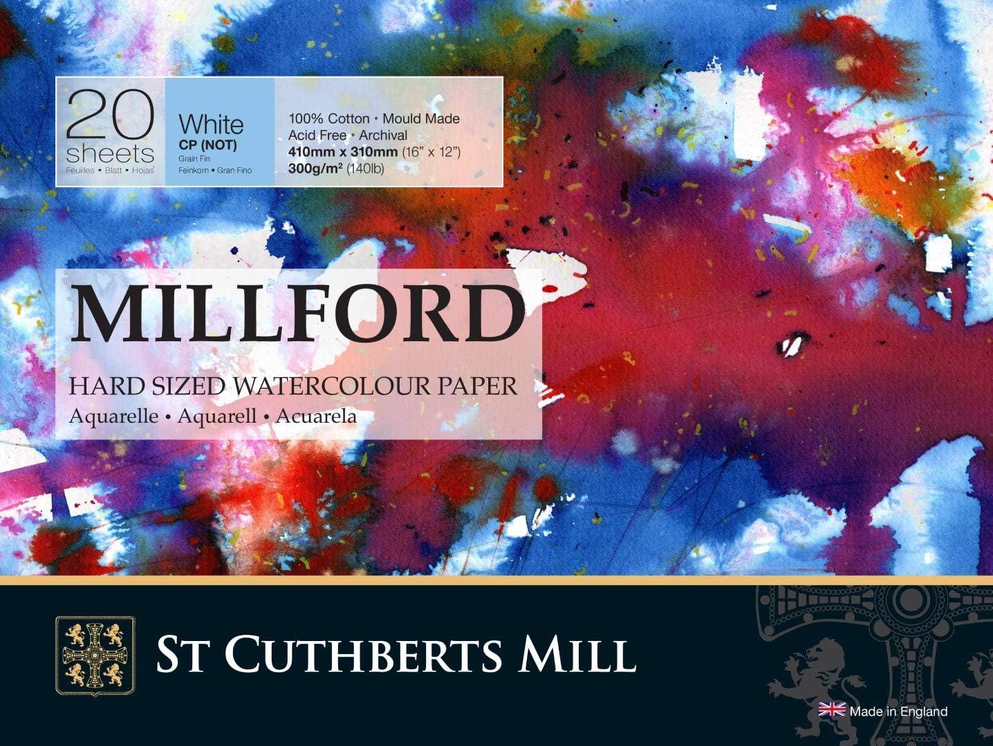 Bloque de papel para acuarela 20 hojas 300 g//m/² Millford 40 x 30 cm grano fino color blanco