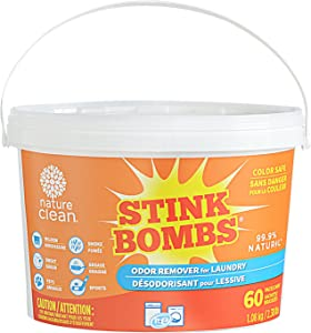 Nature Clean Stink Bombs Odor Remover Pacs for Laundry, Naturally Derived, Color Safe, Fragrance Free, 60Count, 2.38 lbs.