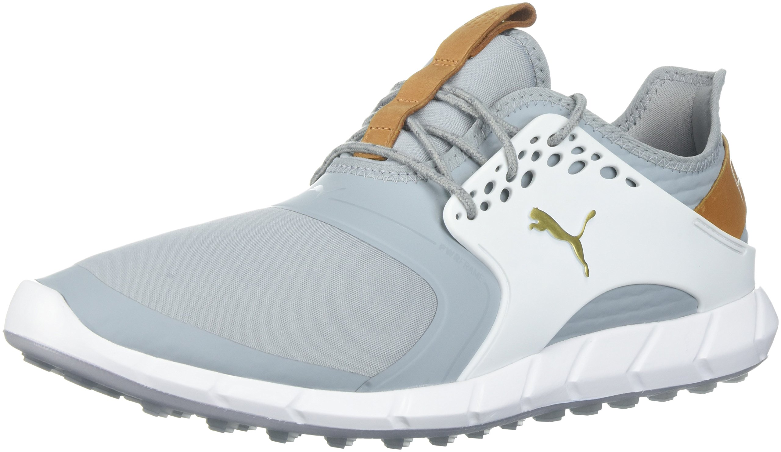 PUMA Golf Men's Ignite Pwrsport Golf Shoe, Quarry/Team Gold/White, 9.5 Medium US by PUMA
