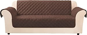 SureFit Throw Cover-Microfiber Non Slip-Water Resistant-70 Inches Wide-Machine Washable-100% Polyester, Sofa, Chocolate