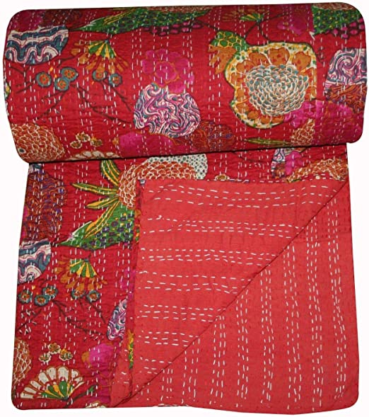 Traditional Cotton Kantha Quilt Ralli Red Gudari Twin Size Floral Blanket Throw