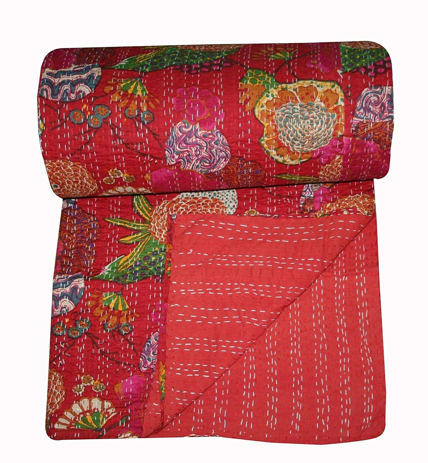 Red Floral Print Kantha Throw Indian Handmade Floral Print Printed Kantha Quilt Bohemian Kantha Throw Indian Bedspread Floral Bed Cover.Vintage Cotton Gudri Twin Size Kantha Bedding