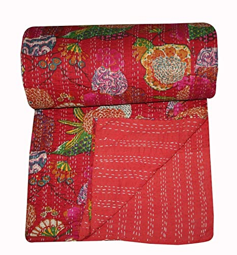 Indian Kantha Quilt Bedding Reversible Bedspread Cotton Ikat Handmade Red Throw
