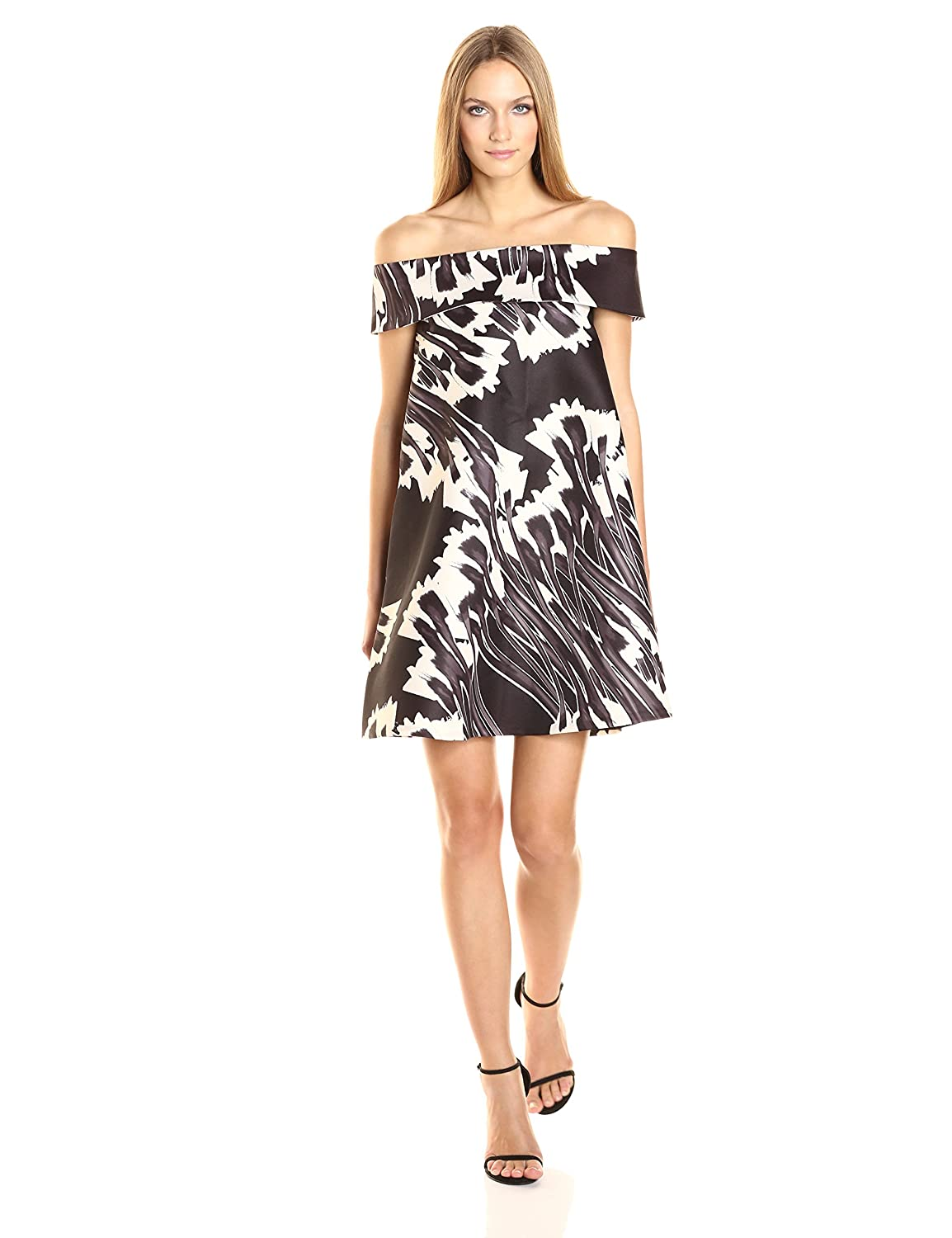 Black Crocus Print Halston Heritage Women's Off Shoulder Printed Swing Dress