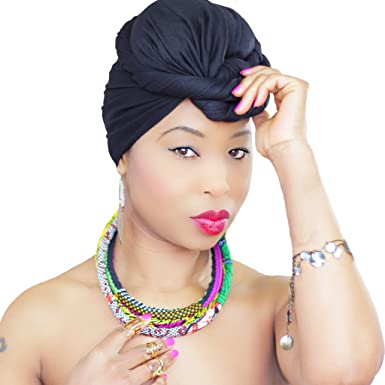 PLAN BLACK HEAD WRAP   Black Hijab   Jersey Head Scarf African HeadWrap Scarf African Head