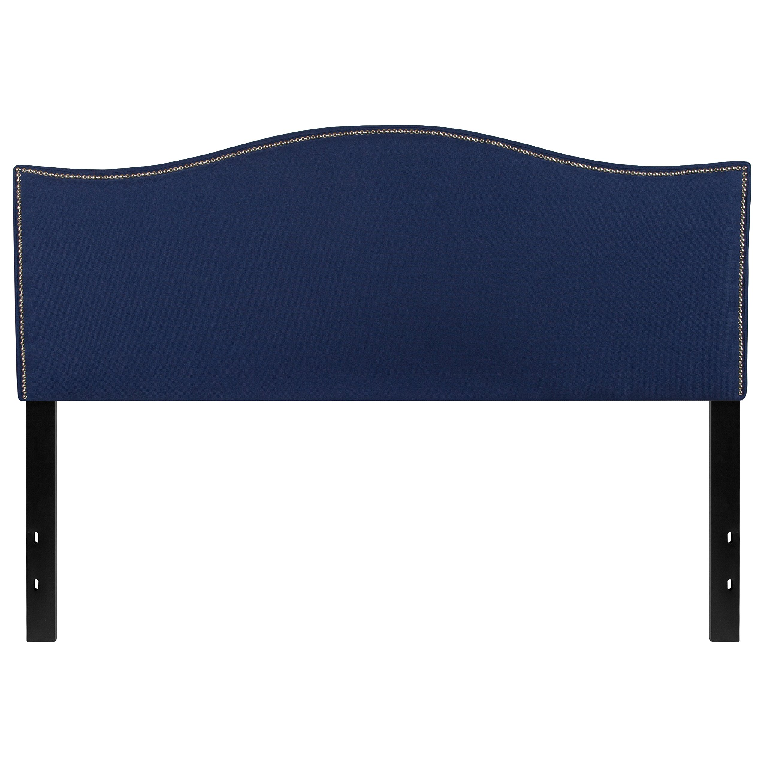 Flash Furniture Lexington Upholstered Queen Size Headboard with Decorative Nail Trim in Navy Fabric