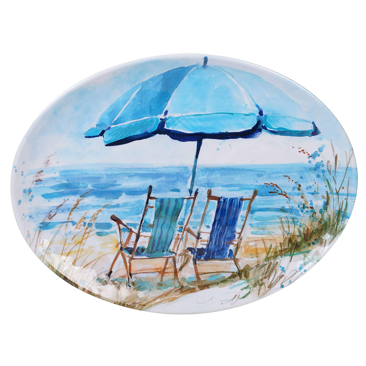 Certified International 27405 Ocean View Oval Platter 18' x 13.5' Servware, Accessories,Hostess Serving, Multicolor