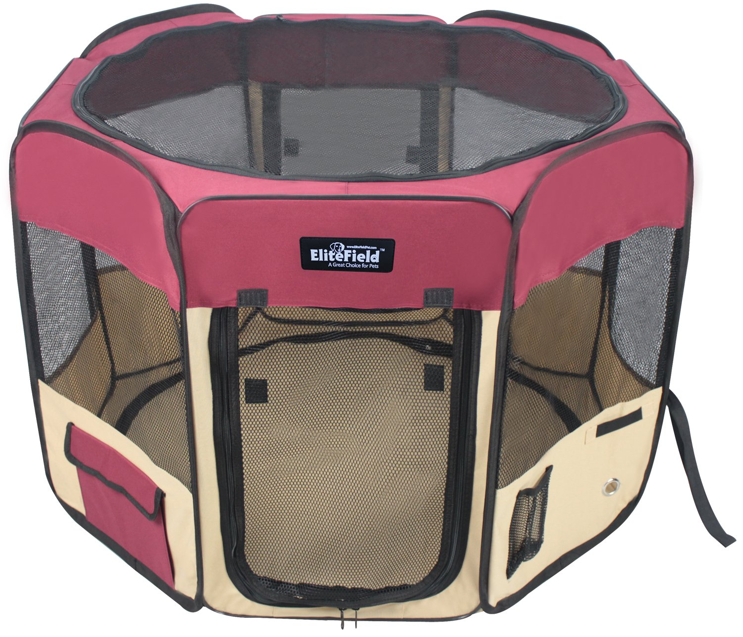 Maroon+Beige 48\ Maroon+Beige 48\ EliteField 2-Door Soft Pet Playpen, Exercise Pen, Multiple Sizes and colors Available for Dogs, Cats and Other Pets (48  x 48  x 32 H, Maroon+Beige)