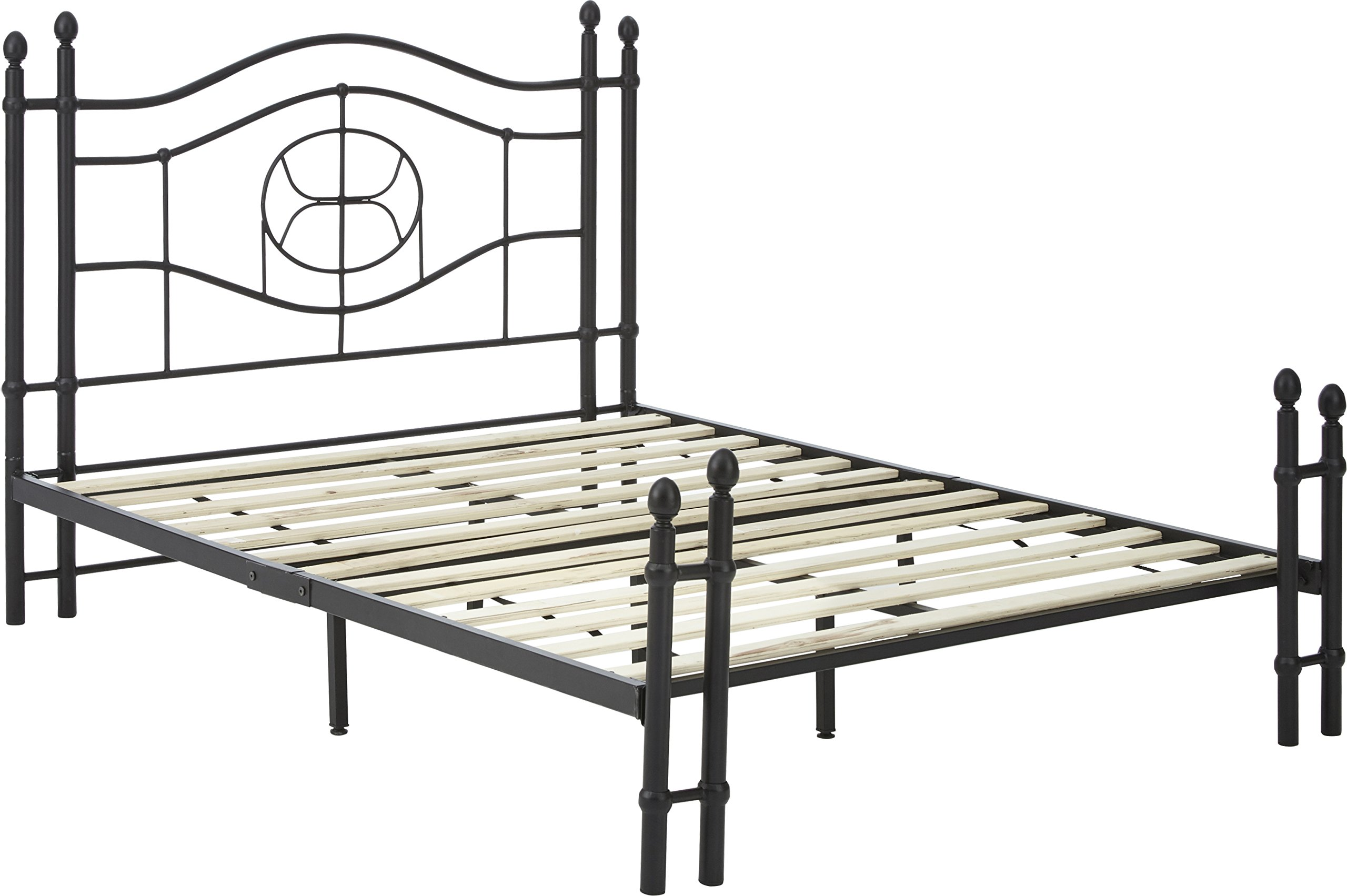 Flex Form Evie Metal Platform Bed Frame / Mattress Foundation with Headboard and Footboard, Queen