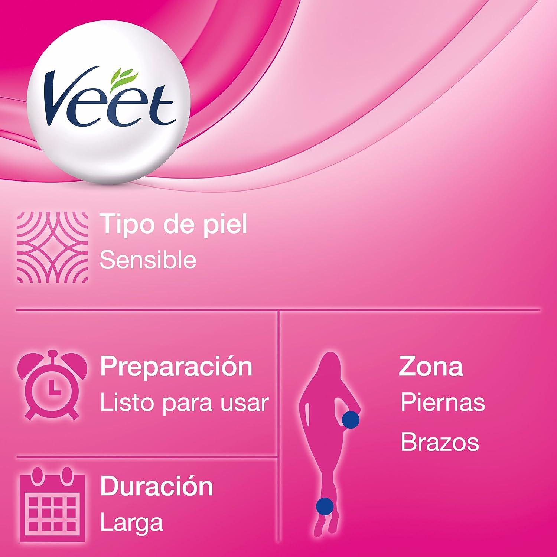 Veet - Bandas de cera depilatoria, Easy Gelwax, pieles sensibles, 20 bandas: Amazon.es: Belleza