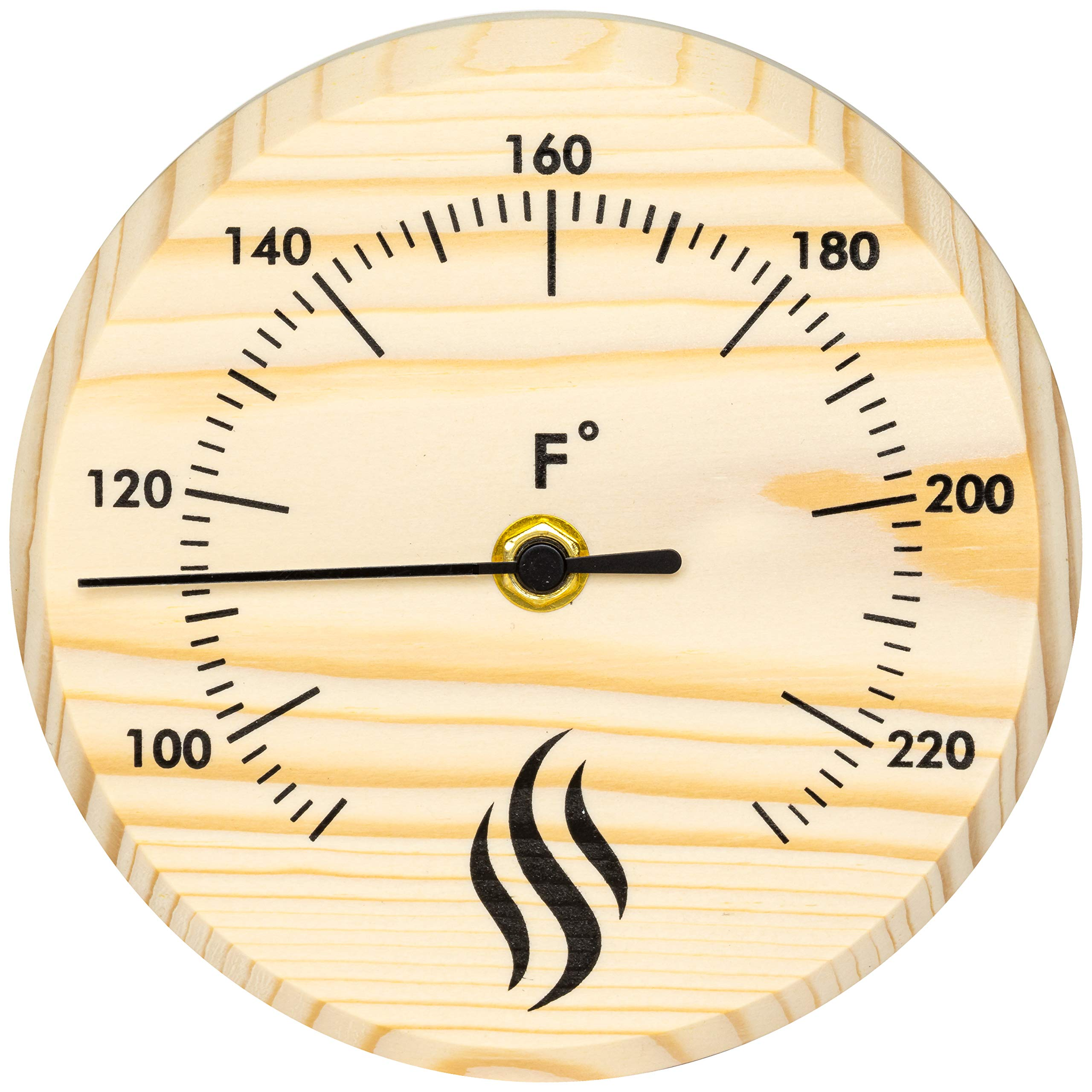 Wildgoose Co Sauna Thermometer Fahrenheit (6'' Inch Diameter) Thermometer for Sauna, Sauna Accessories for Saunas, Sauna Room or Sauna Outdoor; Sauna Thermometer Wood, Sauna Room Thermometer by Wildgoose Co