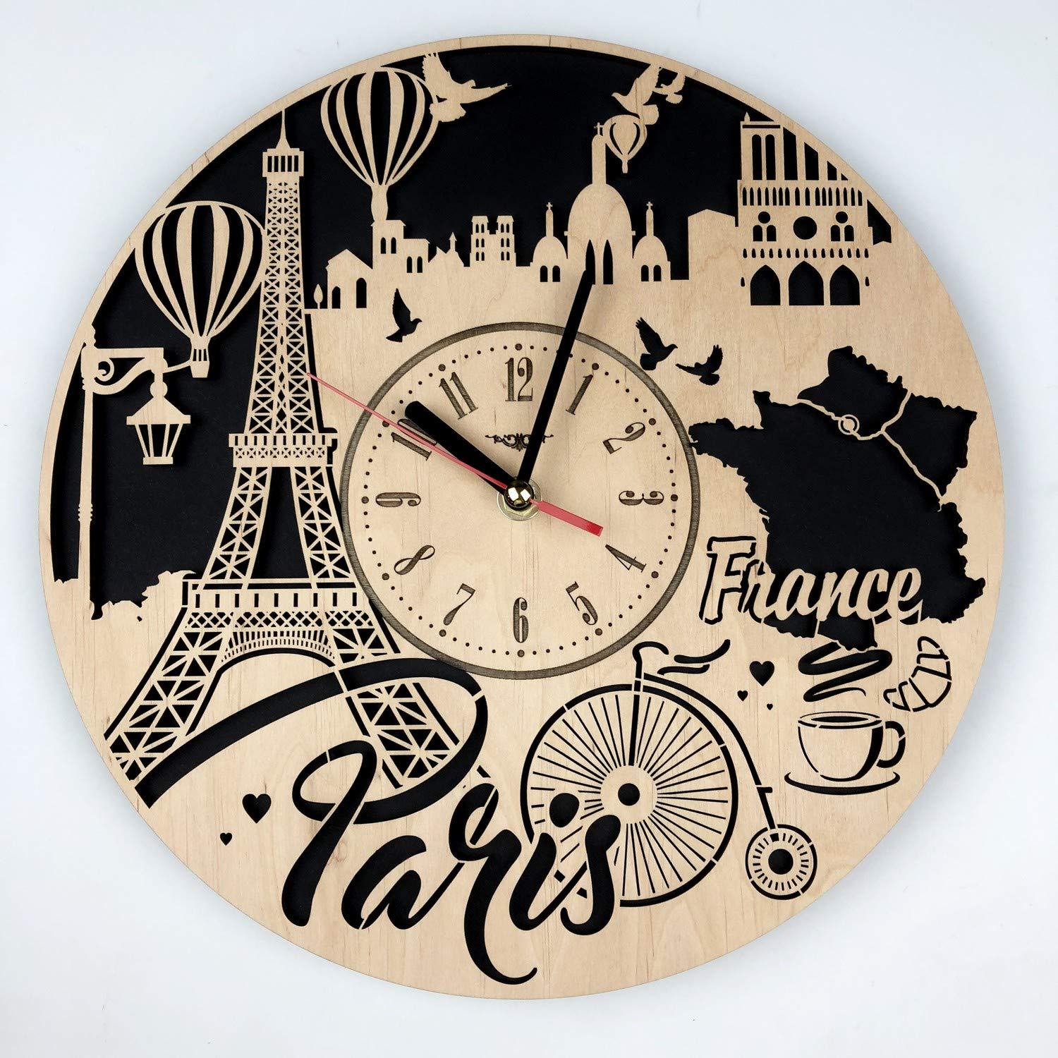 France Paris Skyline Wall Clock Made of Eco Friendly Wood - Unique Gifts Ideas and Home Decor - Great Wall Art for Living Room Kitchen Bedroom - Silent ...