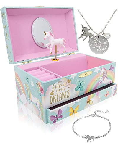 The Memory Building Company Unicorn Music Box & Little Girls Jewelry Set