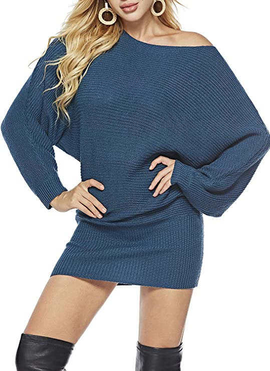 Simplee Apparel Ladies Long Sleeve Sweater Dresses | Off Shoulder Sweater Dresses