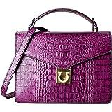 PIFUREN Crocodile Crossbody Bags for Women Small Top Handle Satchel Handbags Ladies