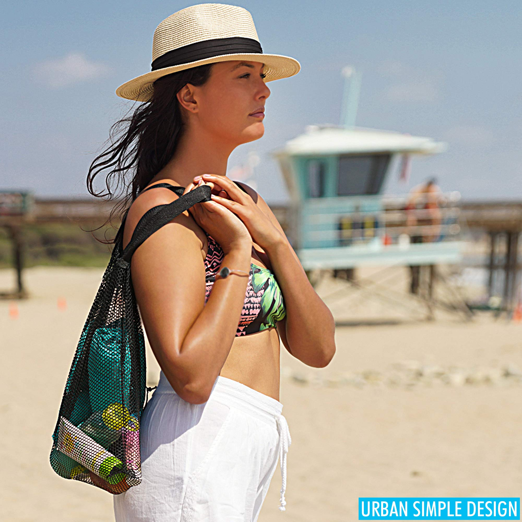 Beach Tote - Gym Bag - Set of 3 with 2 Sizes - Mesh Urban Design for Multi Use by apricot dot (Image #7)