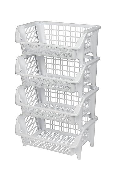 Regal Bestehend Aus Vier Stapelbaren Korben Aus Kunststoff In Weiss