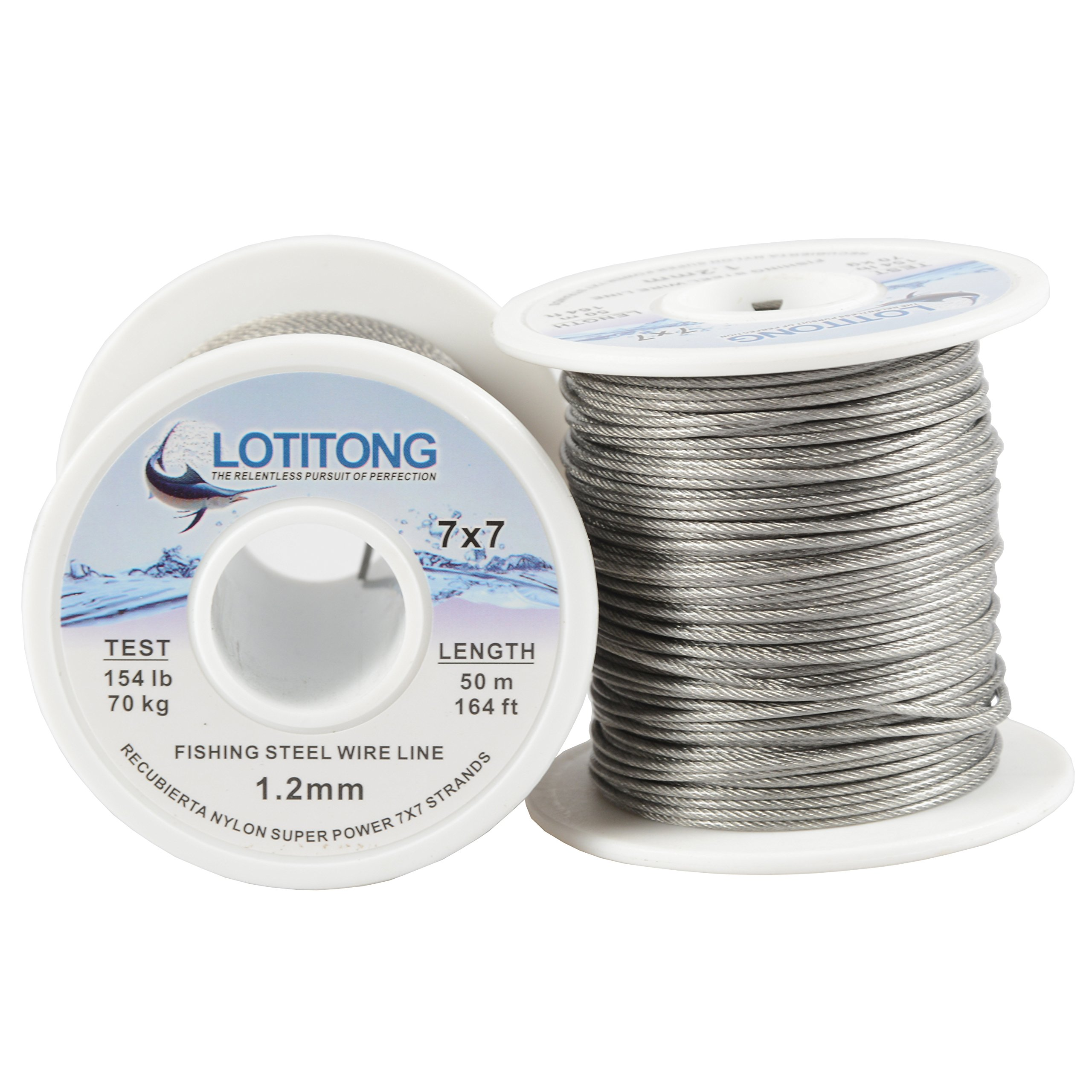 LOTITONG Super power 154LB 1.2mm fishing steel wire line 7x7 49 strands Trace Coating Wire Leader Coating Jigging Wire Lead Fish Jigging Line Fishing Wire Stainless Steel Leader Wire 50M