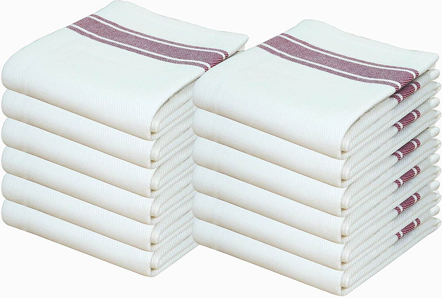 Tiny Break Kitchen Towels,100/% Cotton Value Pack of Dish Cloth Towels 12 Pack 27 x 17 inch White with Blue Stripe Absorbent /& Quick Dry Tea Towels