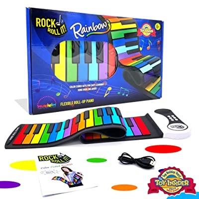 Rock And Roll It - Rainbow Piano. Flexible, Completely Portable, 49 standard Keys, battery OR USB powered. Includes play-by-color song book!: Toys & Games
