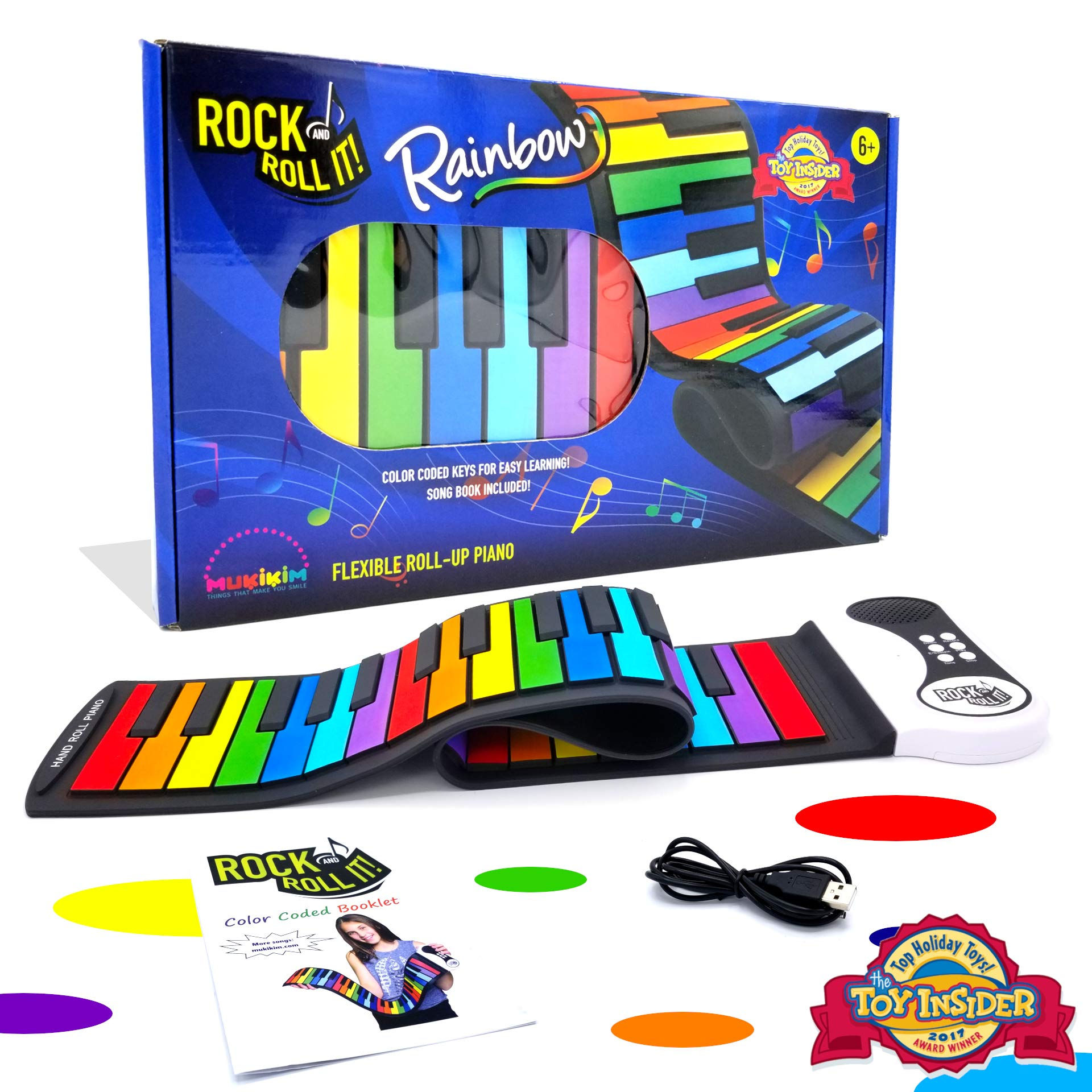 Rock And Roll It - Rainbow Piano. Flexible, Completely Portable, 49 standard Keys, battery OR USB powered. Includes play-by-color song book! by MukikiM